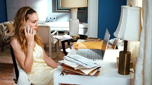 ... Redesigning Her Apartment. U201cYeah, Well, Out With The Old Andu2026 Oh, In  With The Overpriced,u201d Says Carrie, Looking At The Price Tag Of A Desk In  The Store.