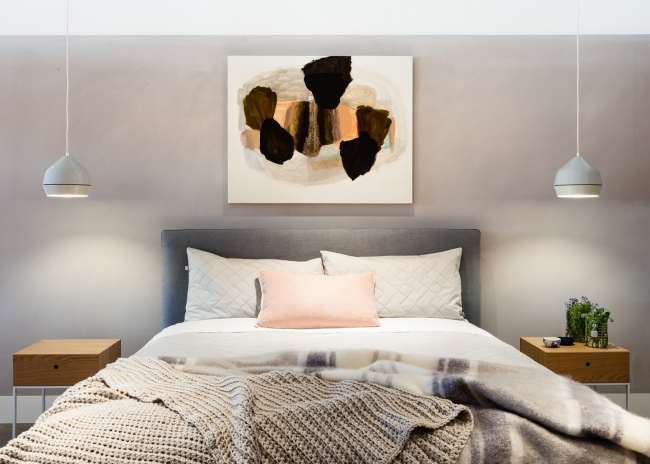 Warm grey not an old house but this bedroom set up at the jardan showroom demonstrates the warmth grey can add to a bedroom paint by bauwerk photo by