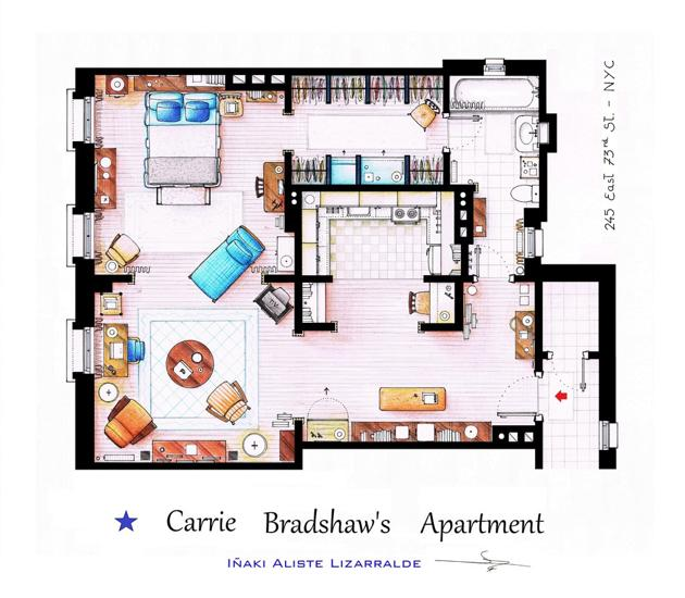 Above Carrie S First Apartment In And The City It Doesn T Seem So Small A Floor Plan Does