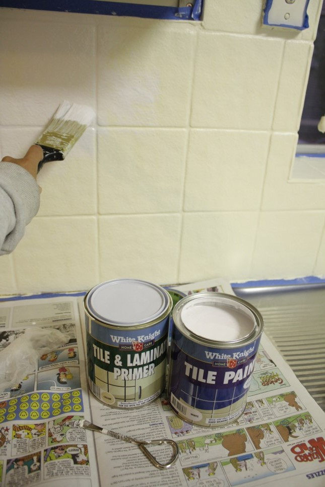 Our Budget Kitchen Makeover How To Paint Splashback Tiles